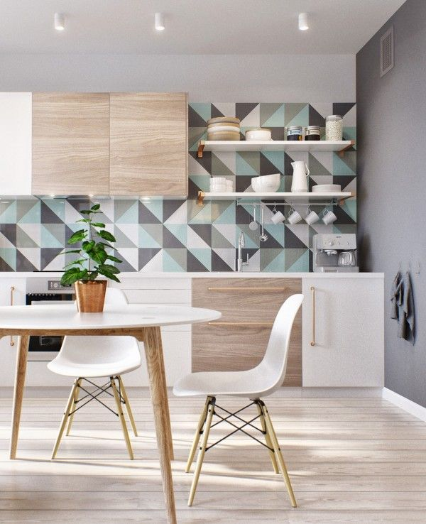 Geometric kitchen splashback