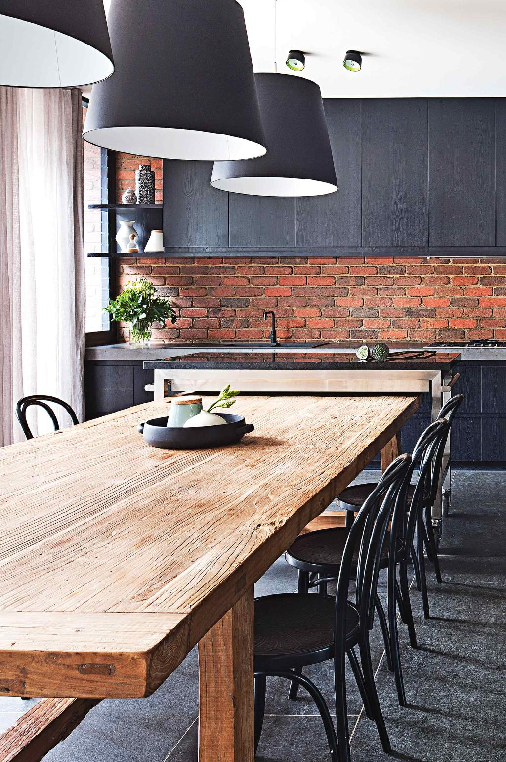 Exposed brick splashback
