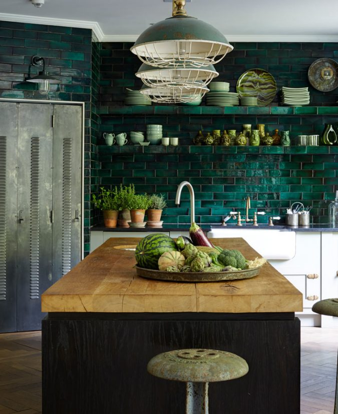 Green tile splashback