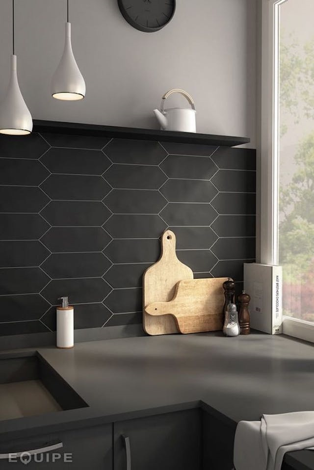 Matte Black tile splashback