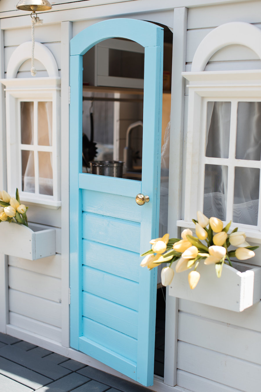 Blue cubby door