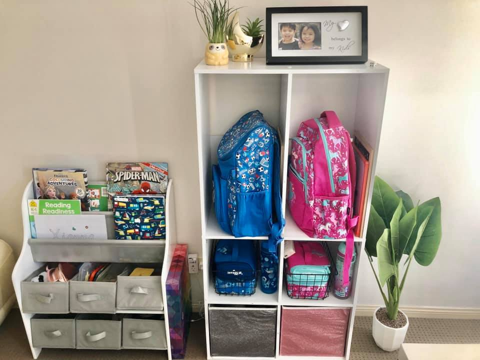 Bookshelf and bag station