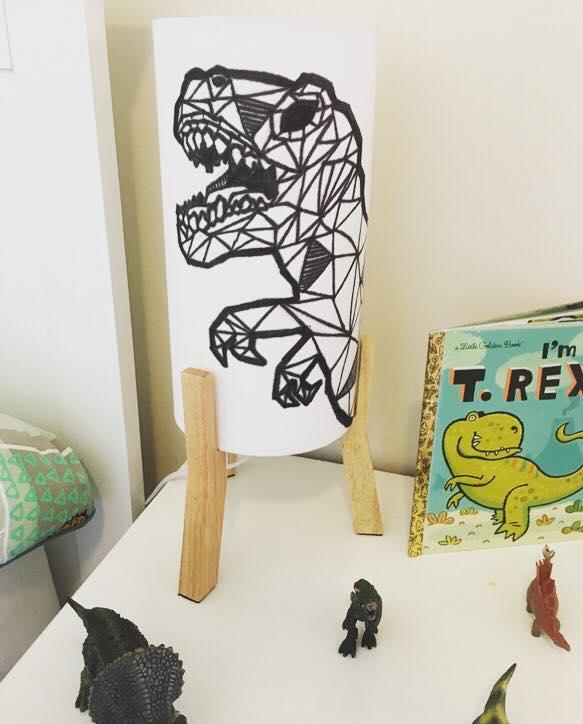 Hand-stencilled T-rex lamp