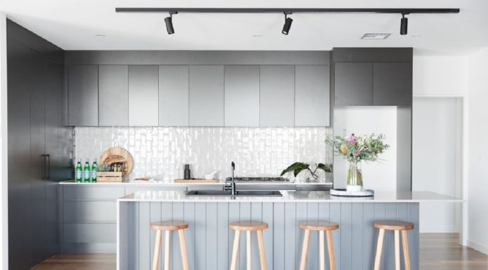 Handmade subway tile splashback