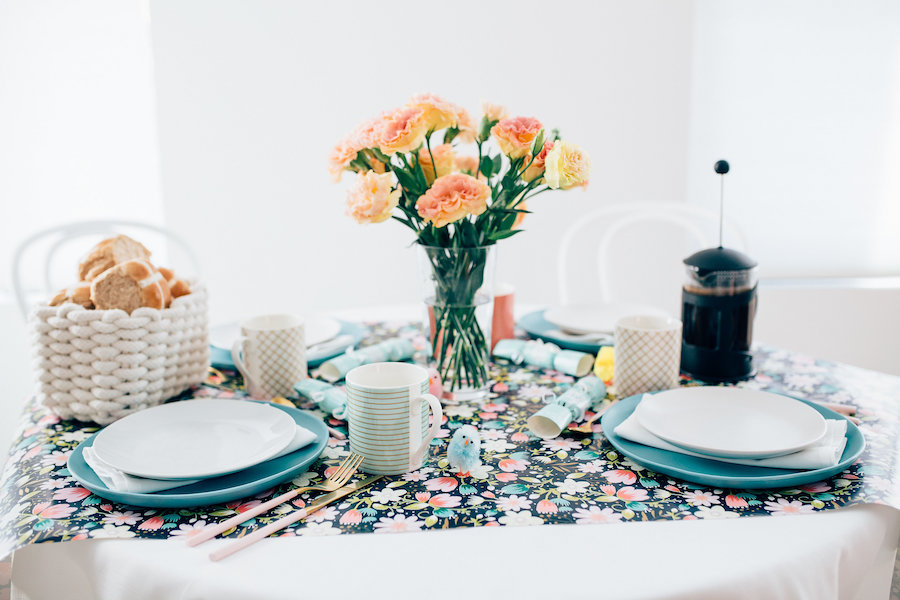 Colourful floral table setting
