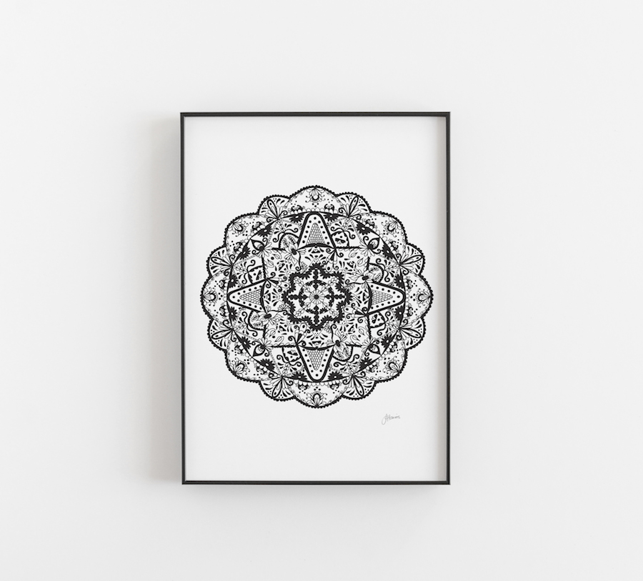 Marrakesh Decor Mandala Print in Black A3