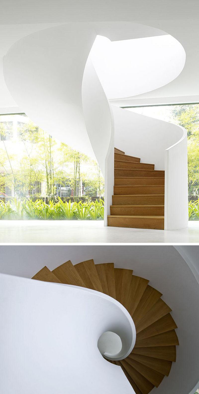 White ribbon staircase