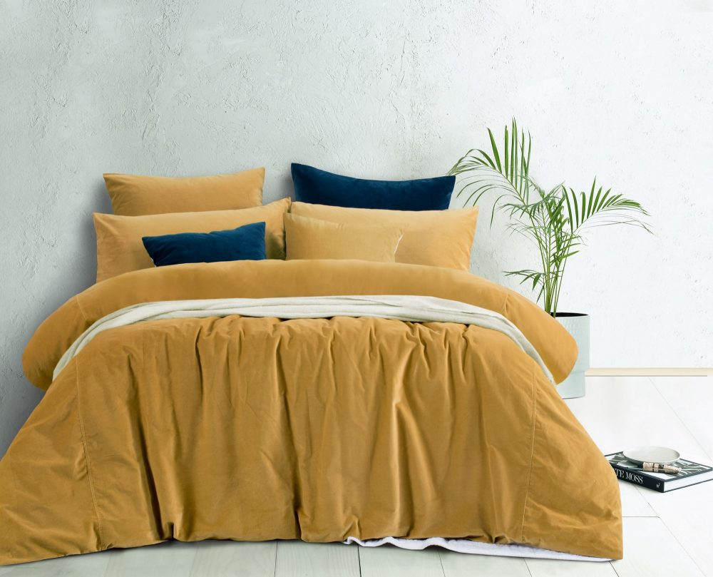 Gold yellow cotton velvet autumn bedding