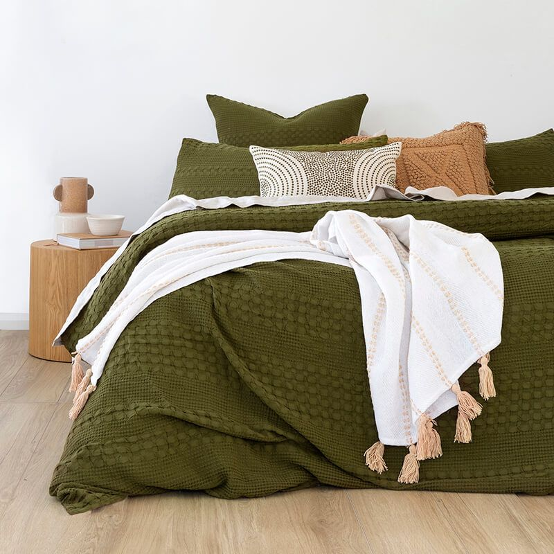 Olive green quilt cover