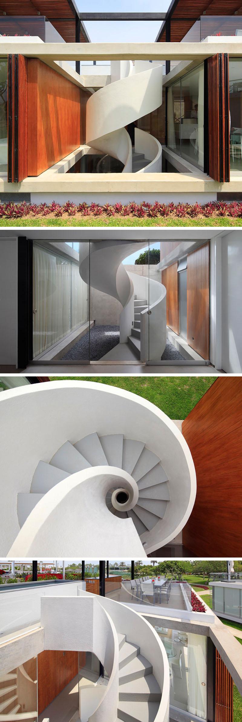 External white ribbon staircase