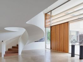 Solid white ribbon staircase
