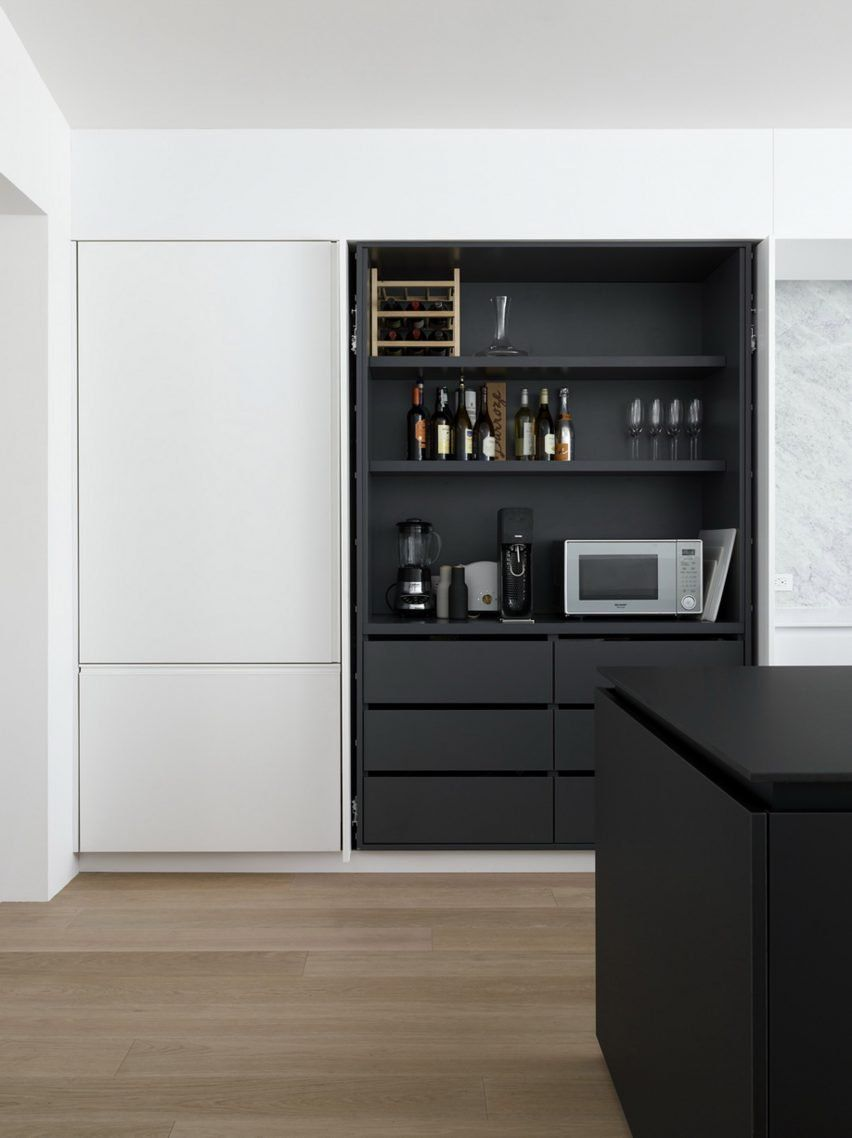 White and black cabinetry