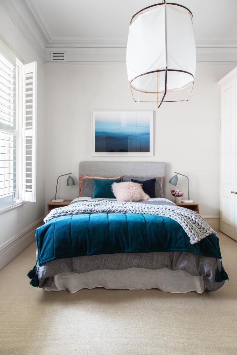 Deep blue and grey bedroom