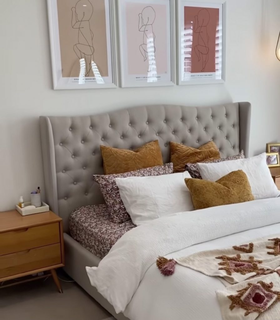 Dusty pink and tobacco tone bedroom