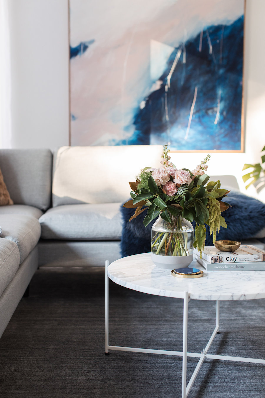 Coffee table and artwork living room makeover