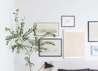Beautiful gallery wall above bed