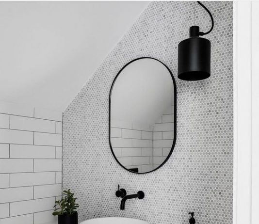 Marble feature wall in powder room