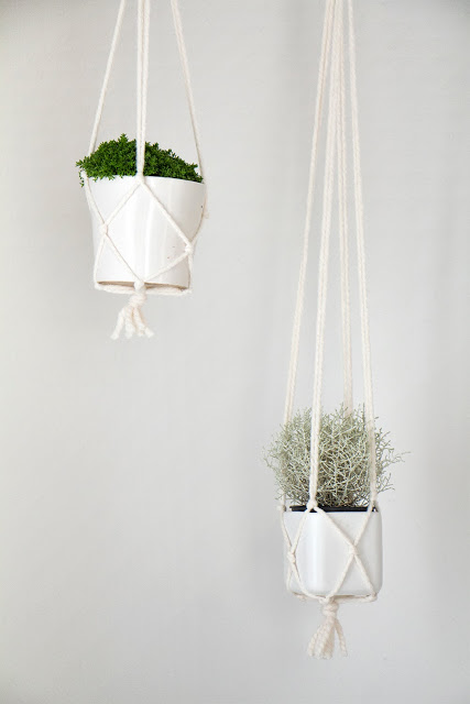 Completed hanging planters