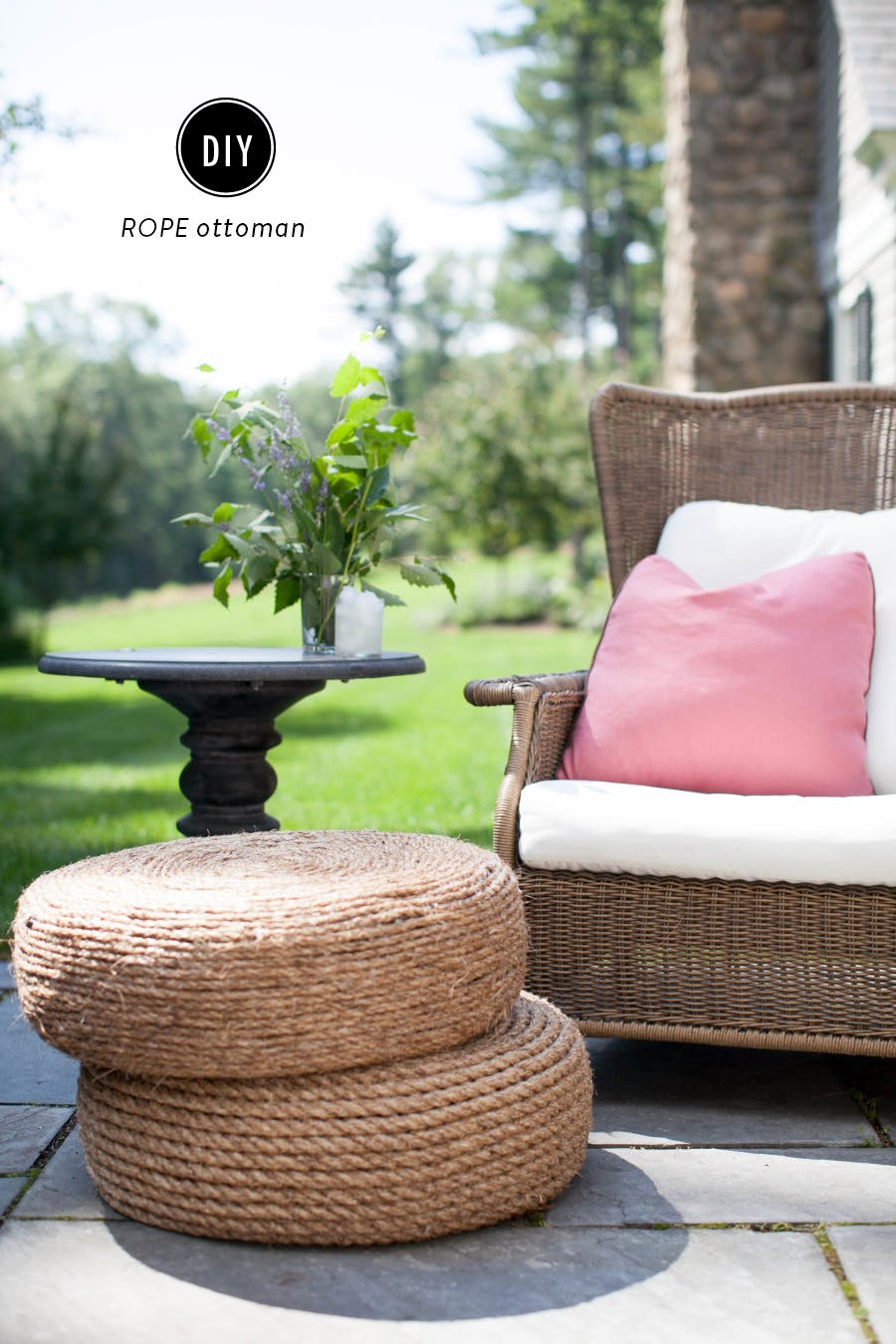 DIY rope ottoman completed