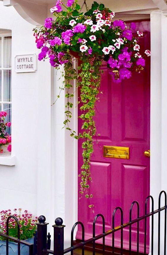 Dark pink front door