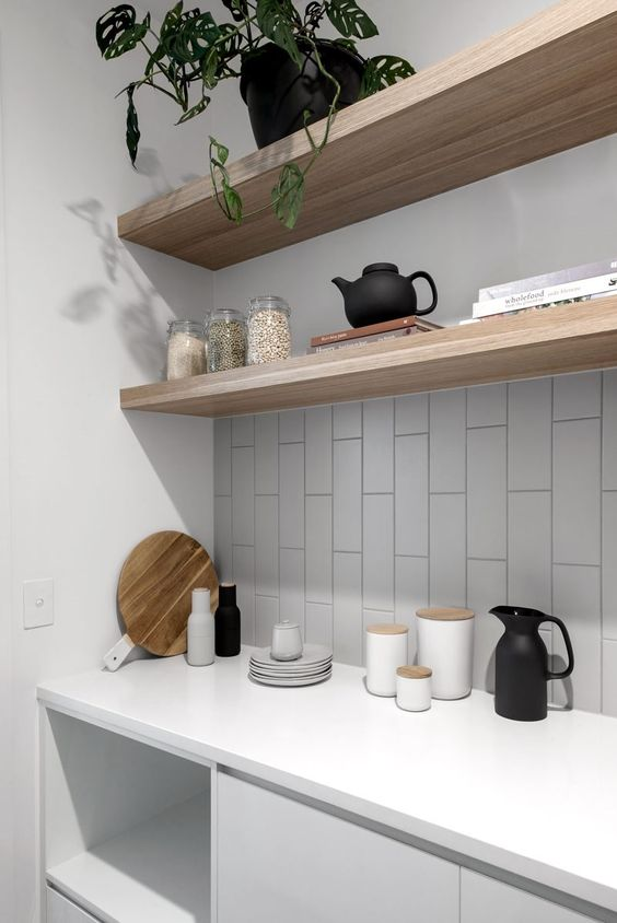 Open shelves in pantry