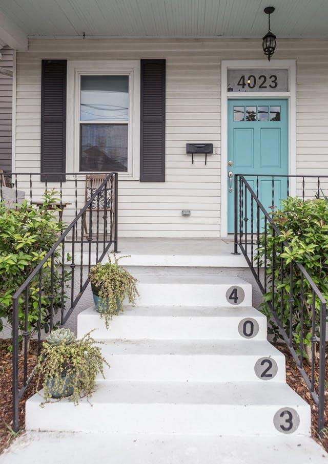 Light blue fabulous front doors