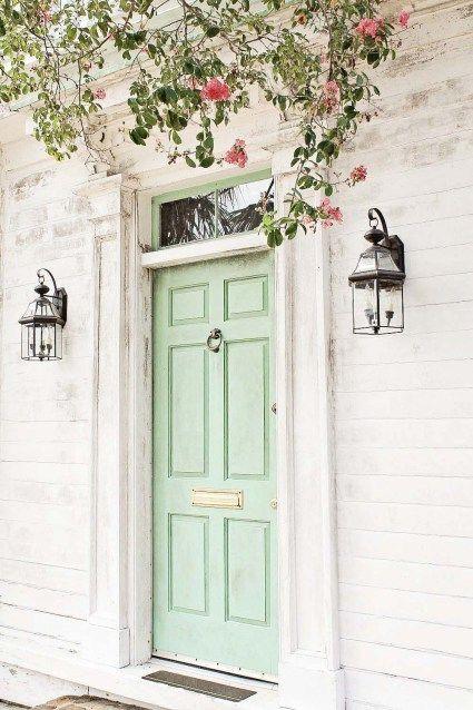 Minty green front door