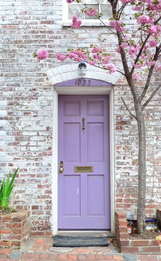 Pastel purple front door