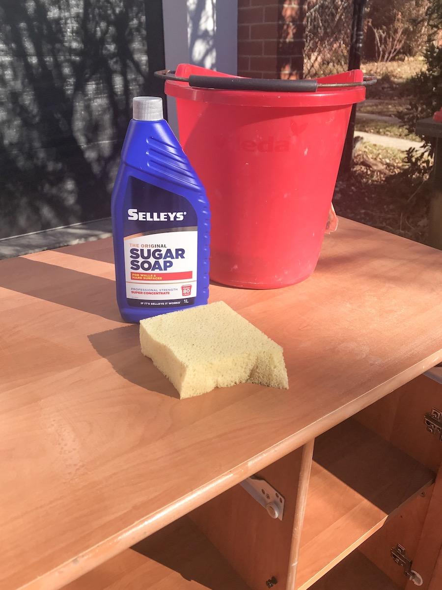 Wash furniture with sugar soap