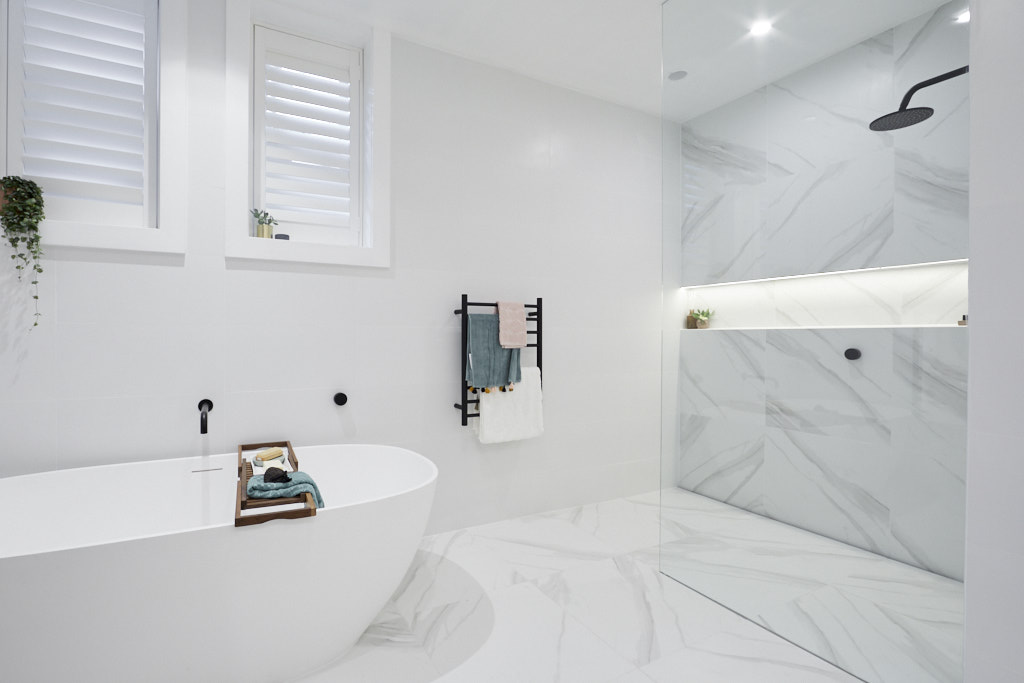 Faux marble tile in shower