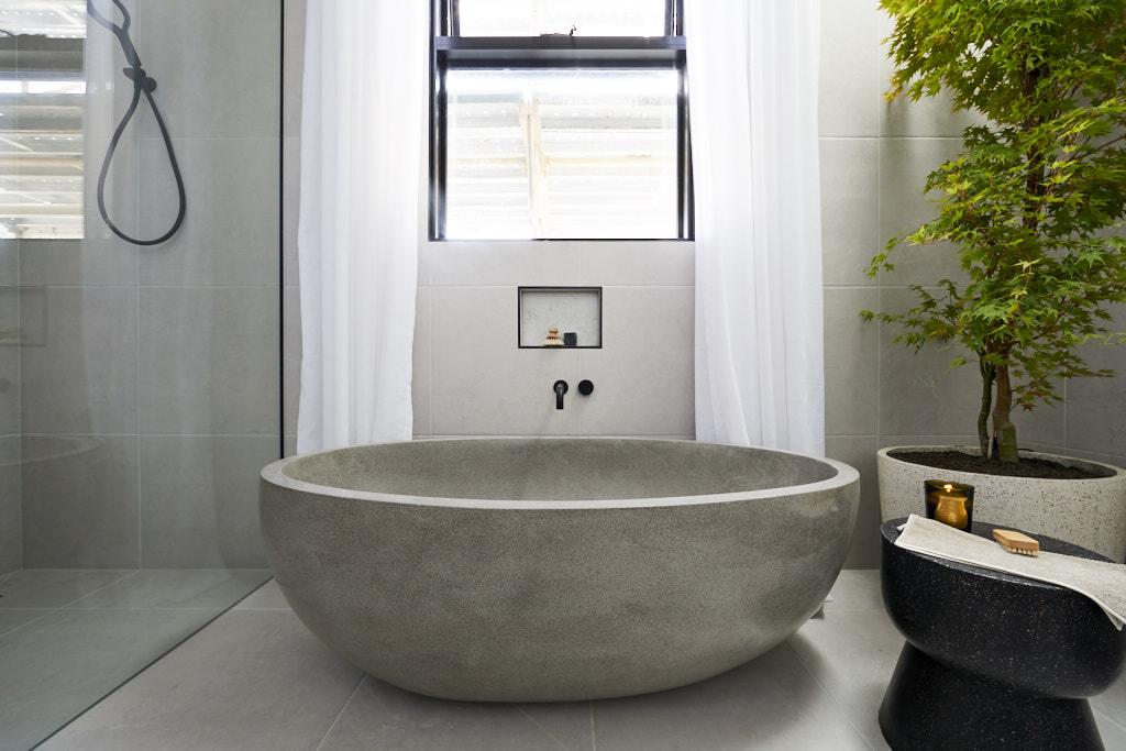 Grey stone bath