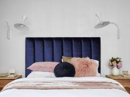 Plush navy blue bedhead