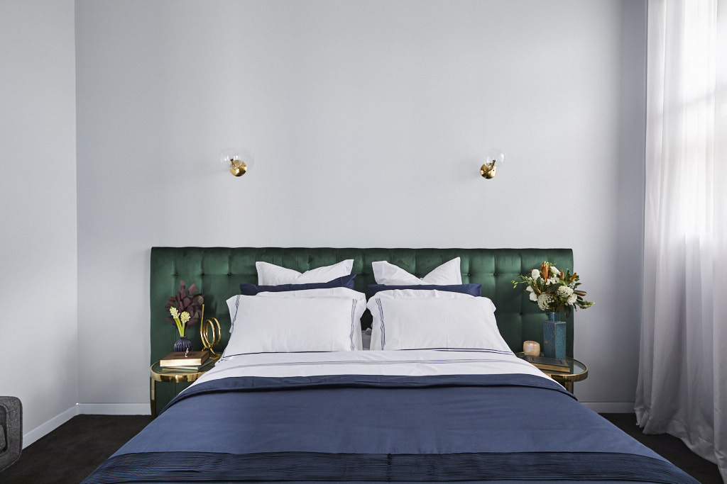 Oversized green velvet bedhead