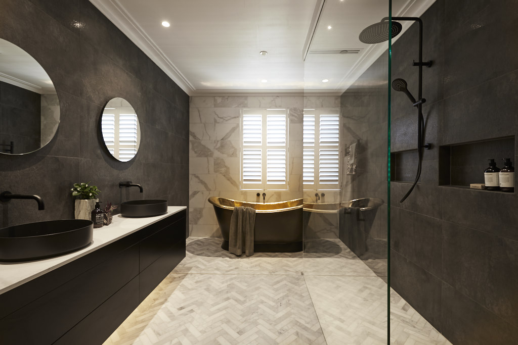 Marble herringbone floors