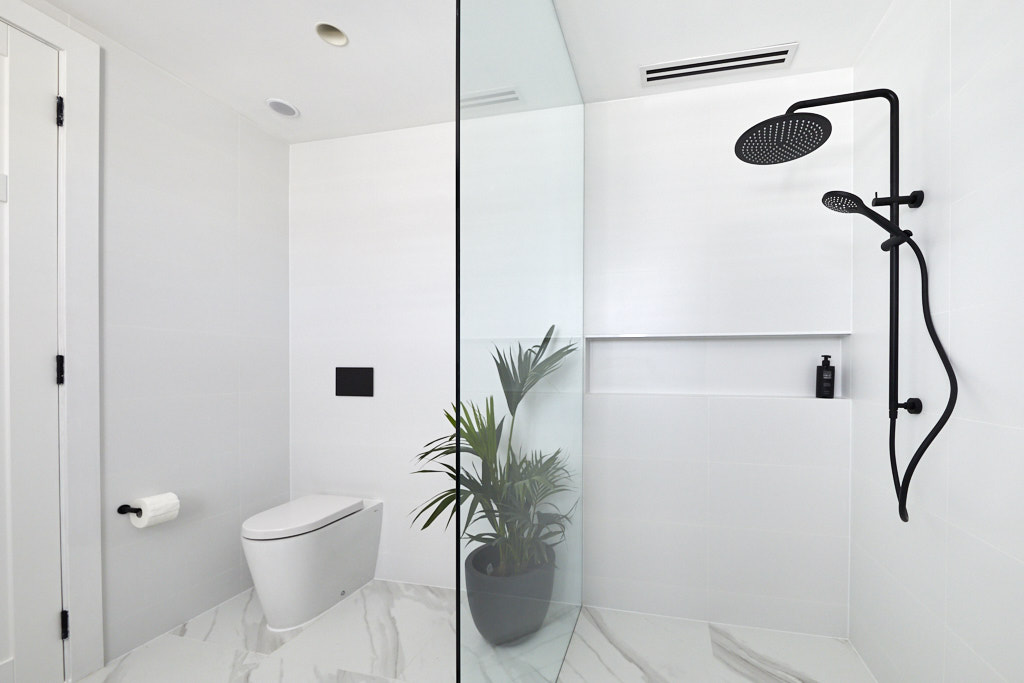 Sleek shower and toilet