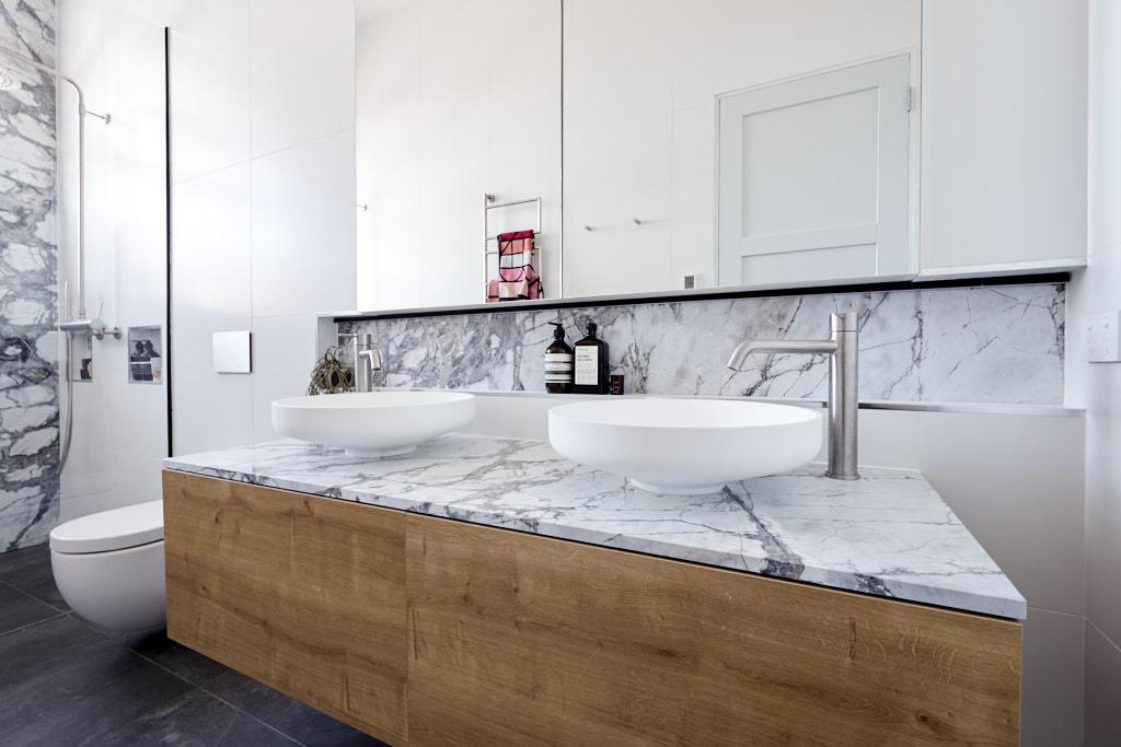 Marble top on vanity