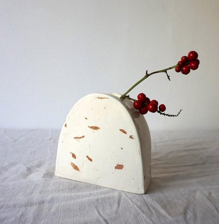 Ceramic vase with terrazzo speckle