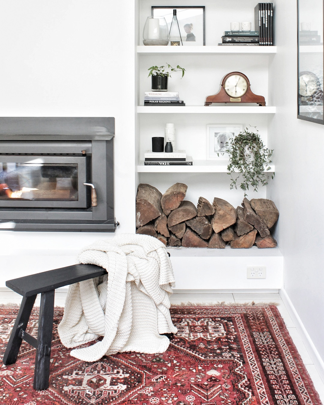Fireplace and bookshelf