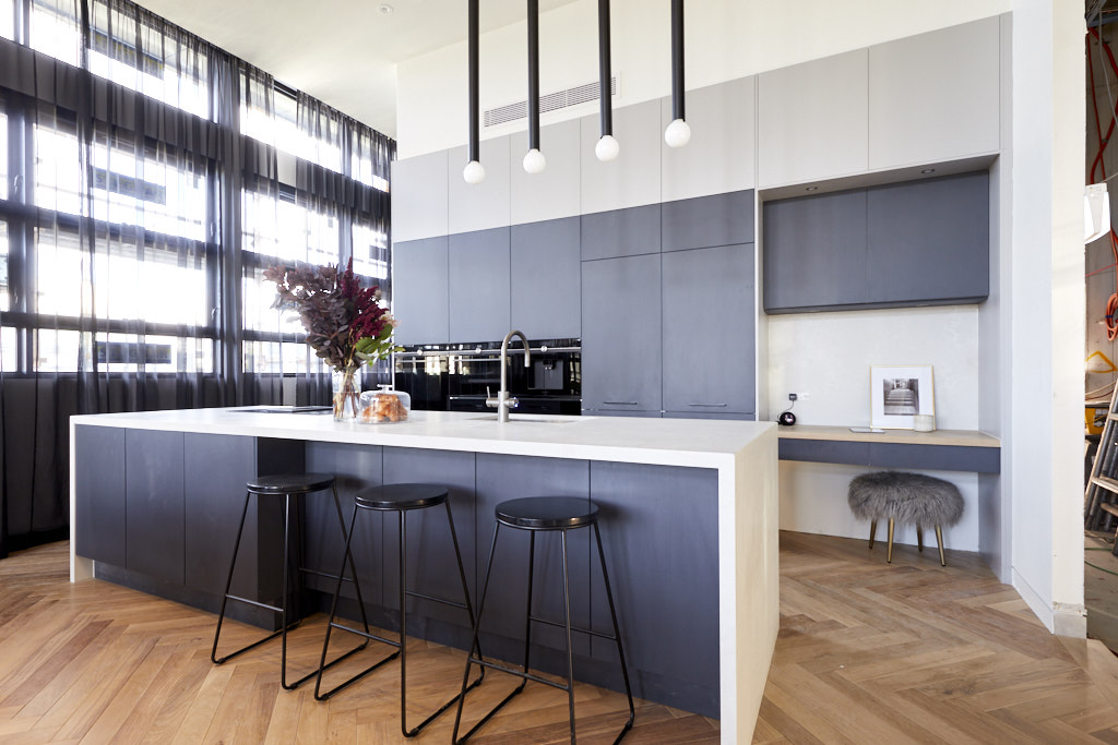 Herringbone timber flooring in kitchen