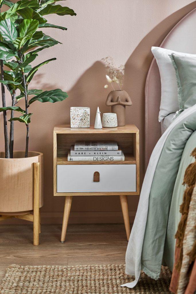 Terrazzo objects styled on bedside