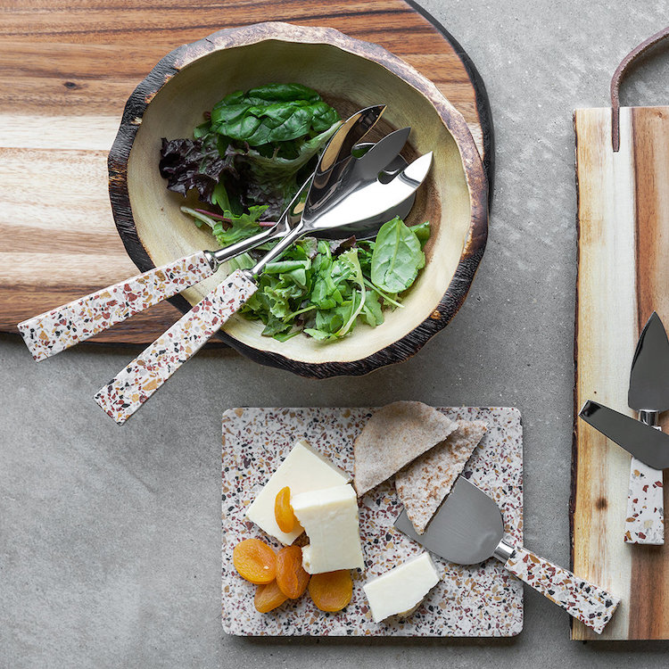 Terrazzo cheese platter and knife