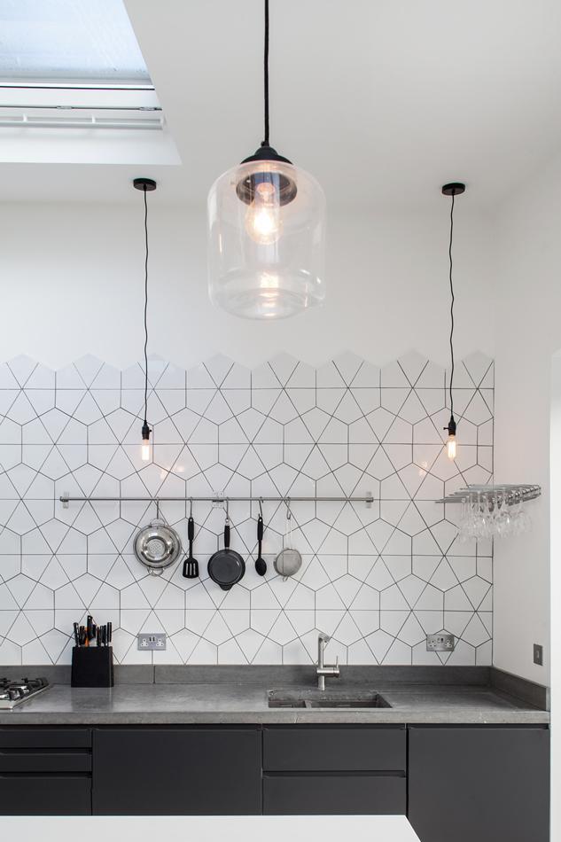 Half height kitchen splashback tile