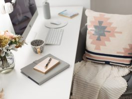 Blush and navy desk styling