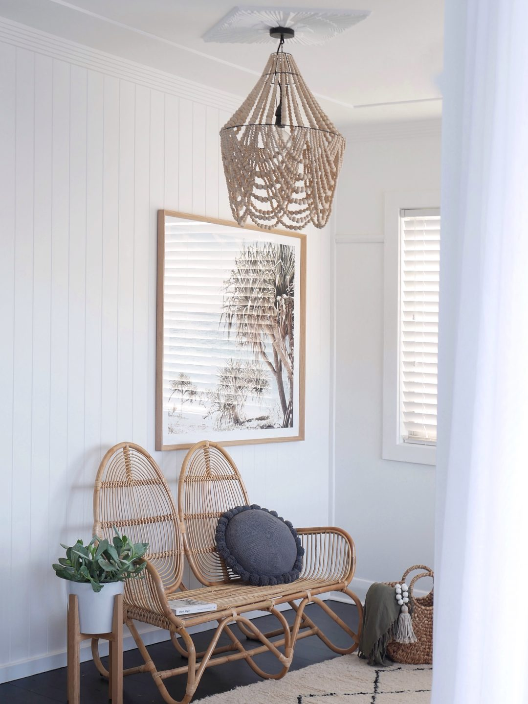 Wicker chair and pendant light
