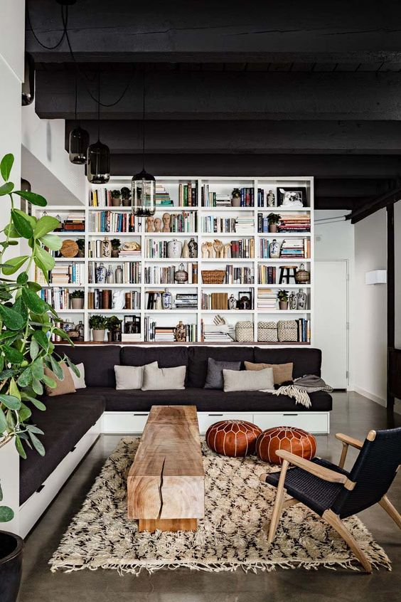 Black home library