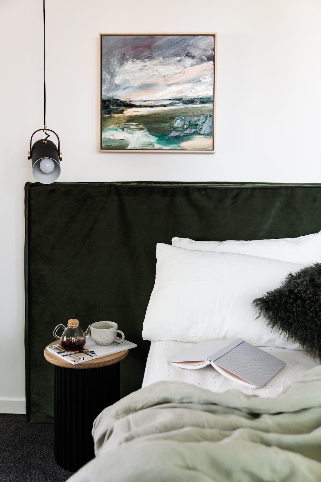 Bedroom styling with green tones Australian design home