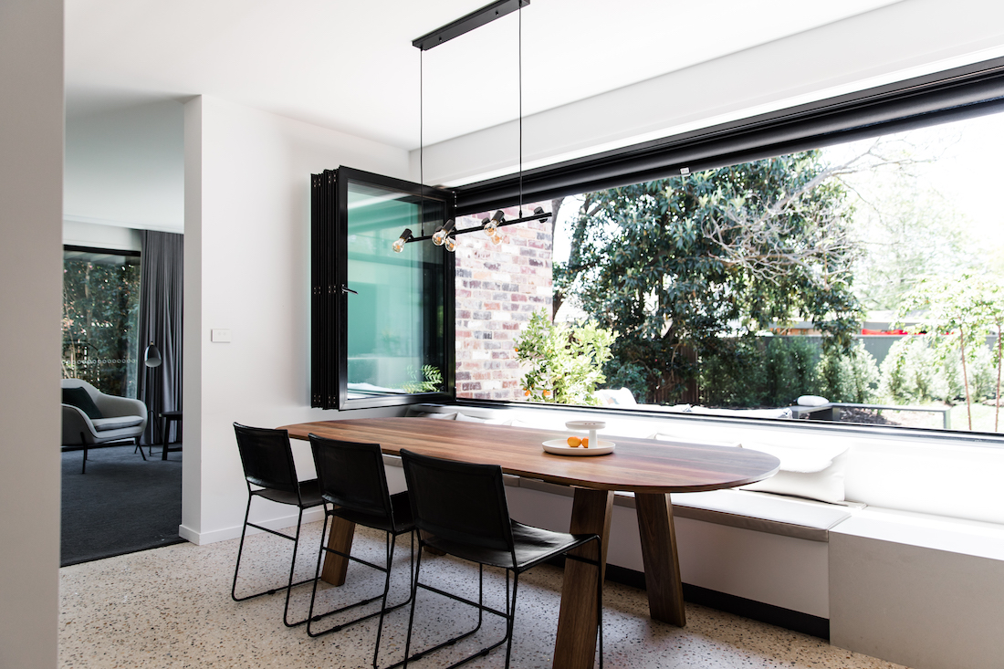 Open windows in a clean kitchen