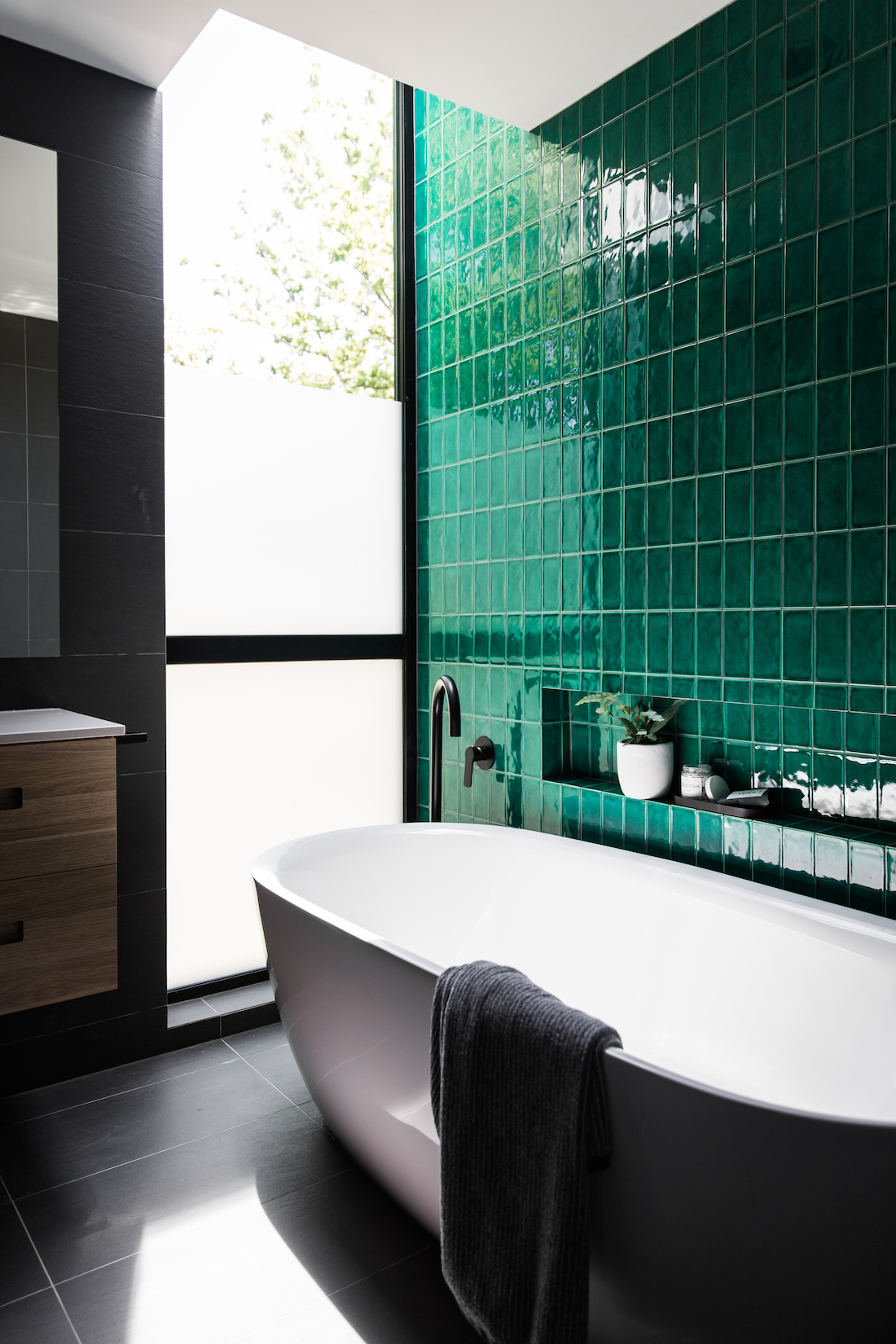 Green tile wall Australian design home
