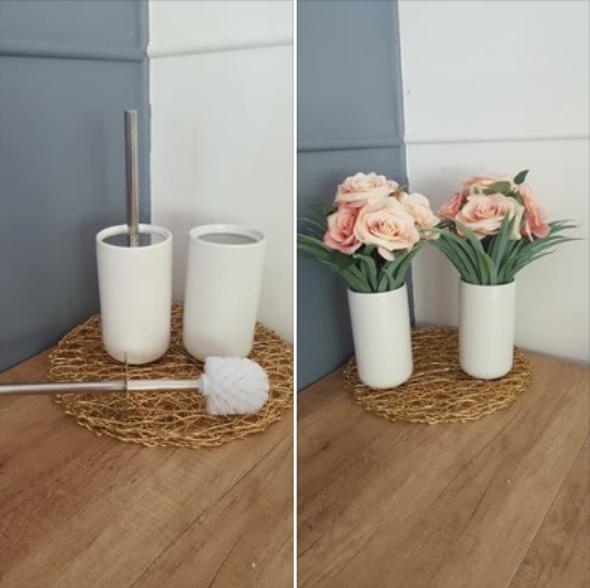 Toilet brush vase