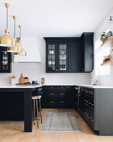 Black and white traditional kitchen